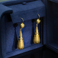 French 18 Kt Gold Drop Earrings, Napoleon II