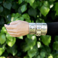 Victorian Silver Bangle Bracelets, buckle, button cuff, shirt cuff, corset motif