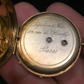 Antique: 18 Kt Gold Watch Chain  Necklace with Pocket Watch Pendant, French, In Original Box