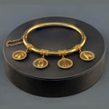 Antique Italian Gold Bangle with Charms that Spell out Roma or Rome