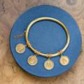 Antique Gold Bangle, Rome, ROMA, AMOR, 19th century jewelry, Italian Antique Jewelry