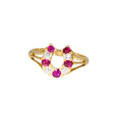Antique Ruby and Diamond Horseshoe Ring