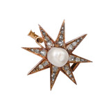 French Antique Diamond Star Brooch with Pearl