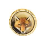 Antique Enamel Fox Brooch