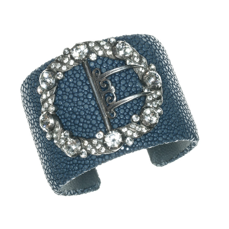 A Georgian Paste Silver Buckle on a Blue Stingray Cuff Bracelet