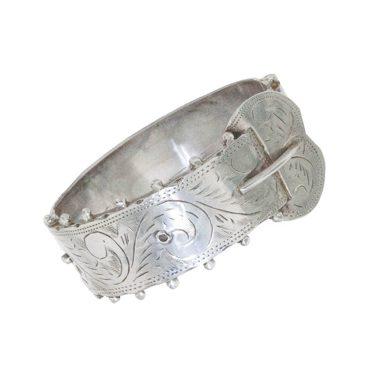 An Antique Silver Buckle Bangle