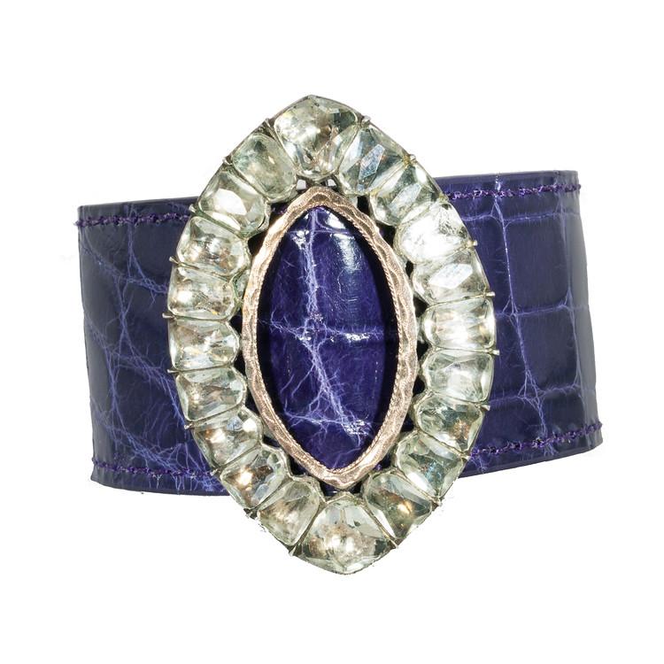 Alligator Cuff Bracelet with Georgian Paste Buckle