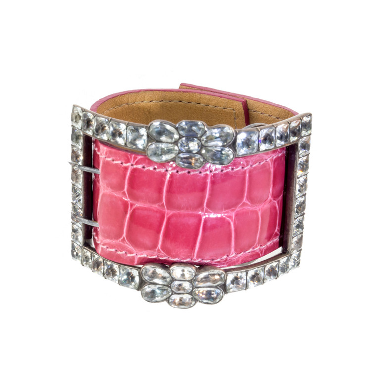 Antique Paste Buckle on Pink Alligator Cuff Bracelet