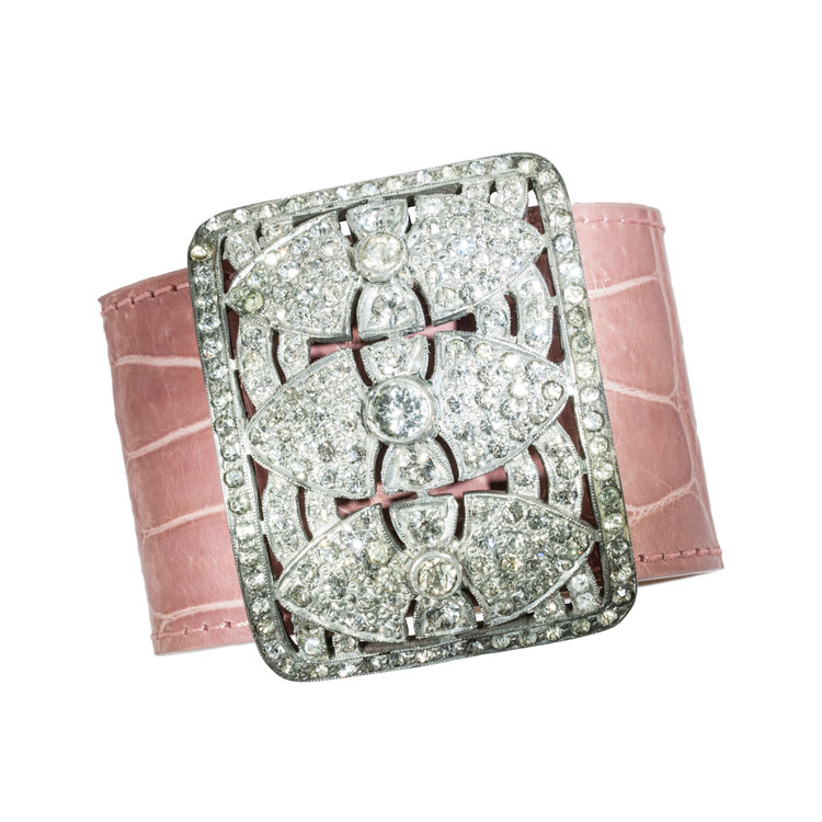 Antique Buckle and Pink Alligator Cuff