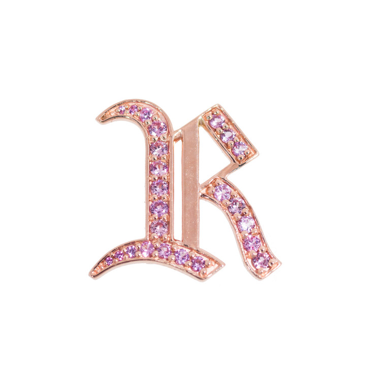 Letter Charm in Rose Gold with Sapphires