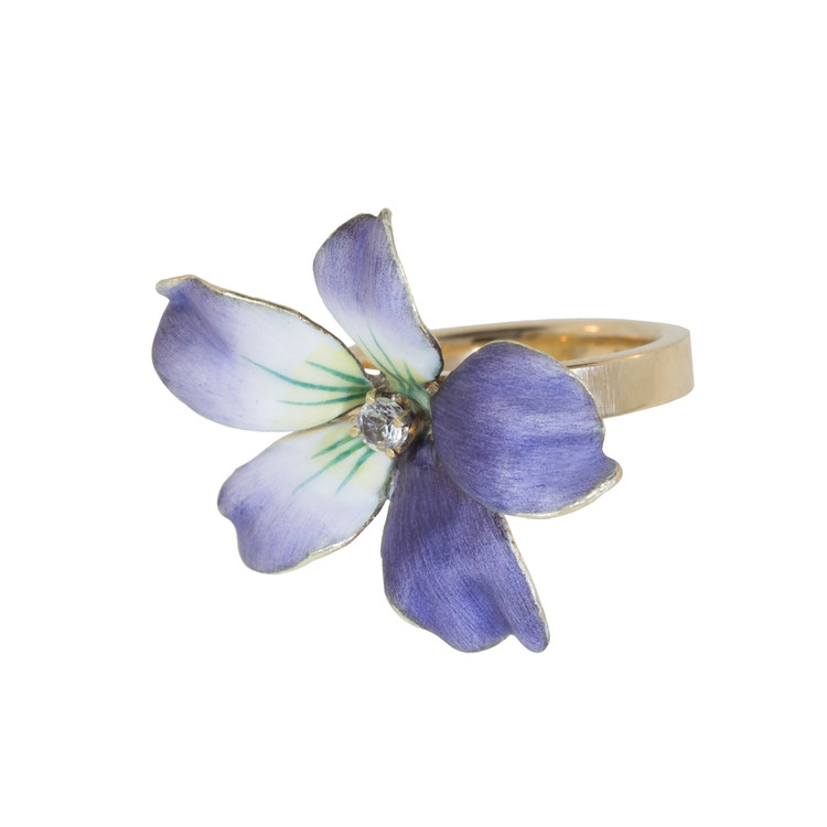 Antique Enamel Flower Ring