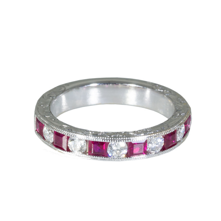 Diamond and Ruby Half Eternity Ring