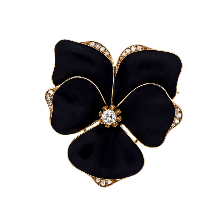 Antique Enamel Pansy Brooch in Black