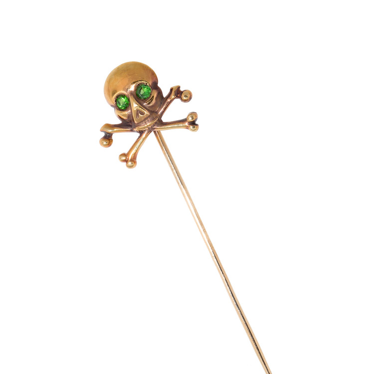 Antique Gold Skull and Crossbones with Demantoid Garnet Eyes