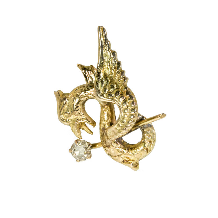 Antique Conversion: Victorian Gold Mythical Beast With Old Mine Cut Diamond Earring, Single Stud