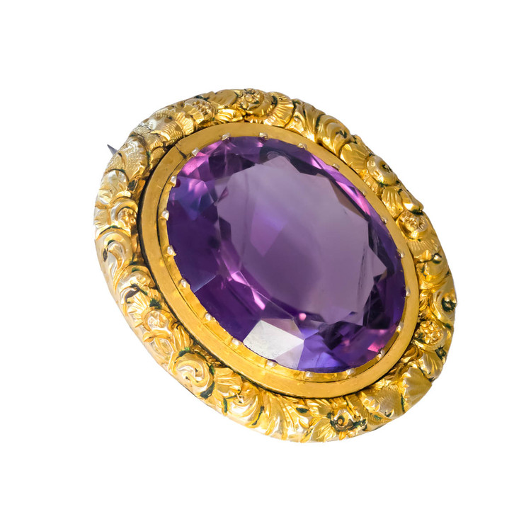 Antique Amethyst Brooch