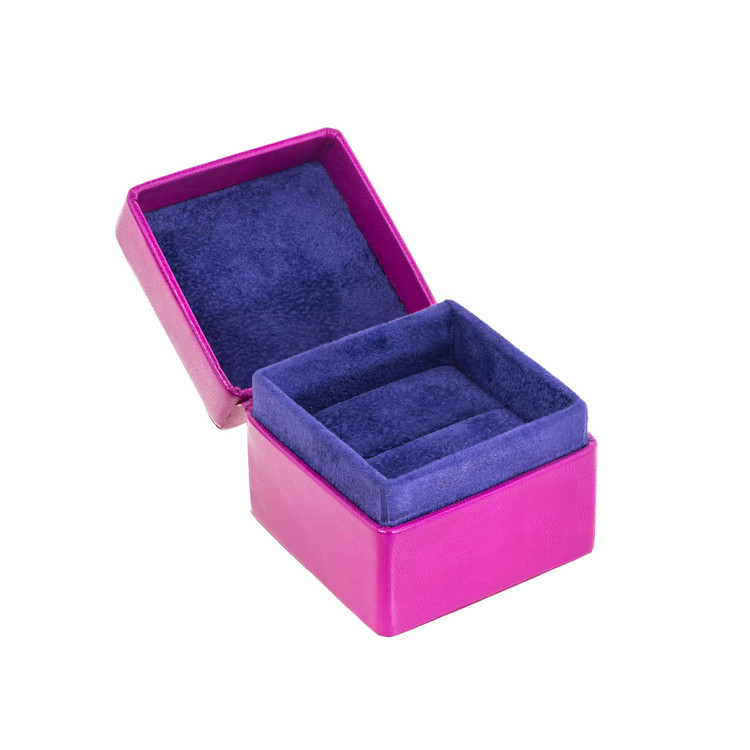 Leather Ring Box Lined in Suede, Hot Pink