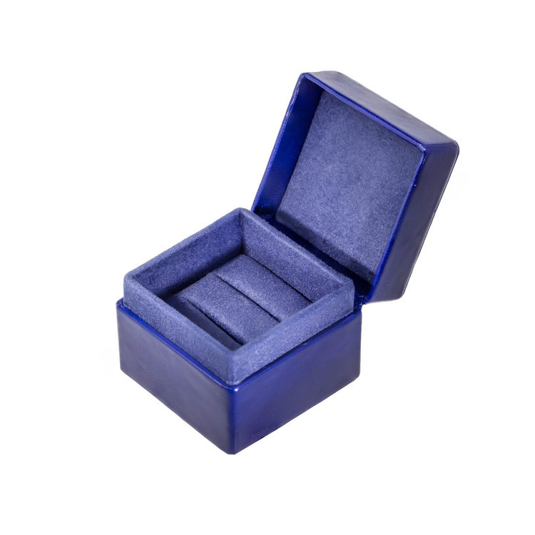 Luxury Leather Ring Box in Blue, Engagement Ring Box
