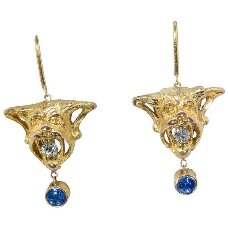 Antique devil earrings set with Sapphires and Diamonds, circa 1900