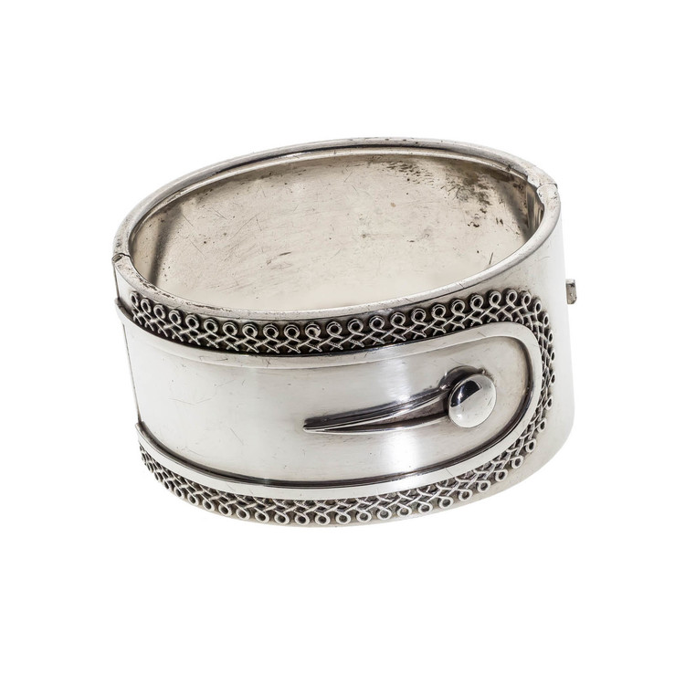 Antique Victorian Silver Button Cuff Bangle