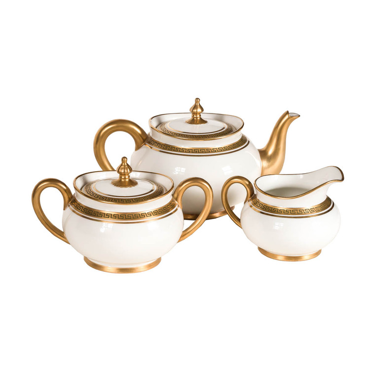 Antique Limoges Porcelain Teaset in Gold and White, J. Pouyat