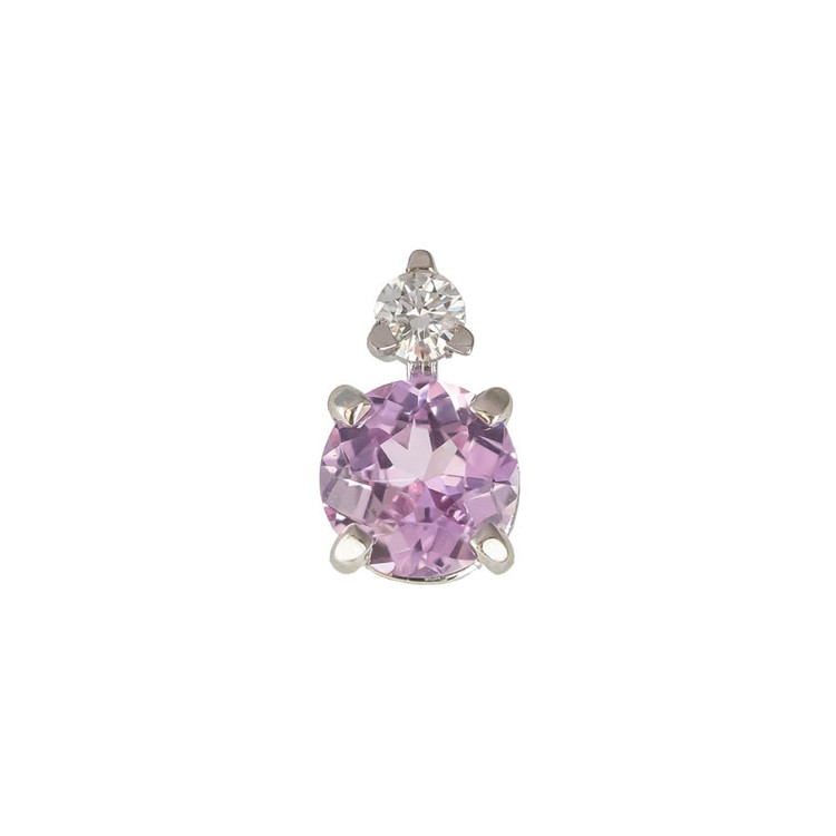 Pink Sapphire and Diamond Stud, Set in 18k White Gold, Ceylon Sapphire