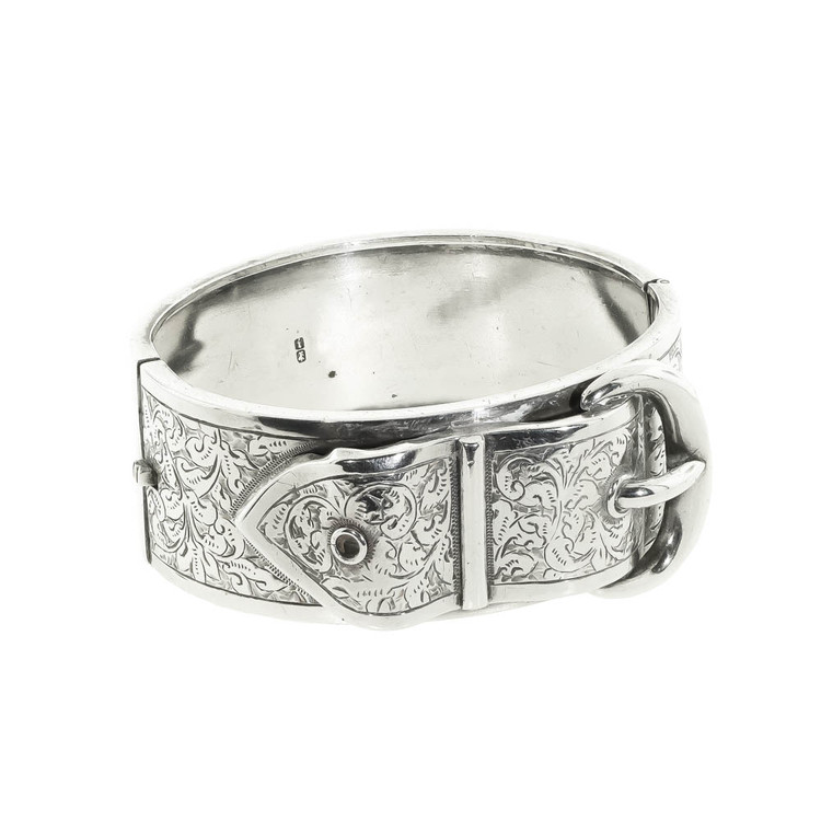 Antique Silver Buckle Bangle Bracelet