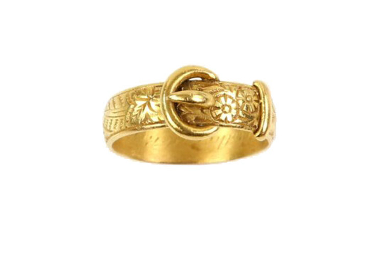Antique buckle ring, floral engraving, Victorian ring
