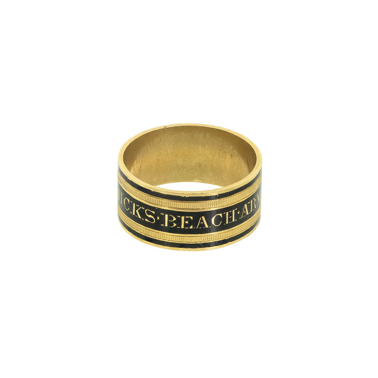 Antique Georgian mourning ring, memorial ring, enamel and gold mourning ring