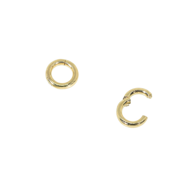 Small round gold charm holder or connector in 14 Kt gold, round bail with hidden hings