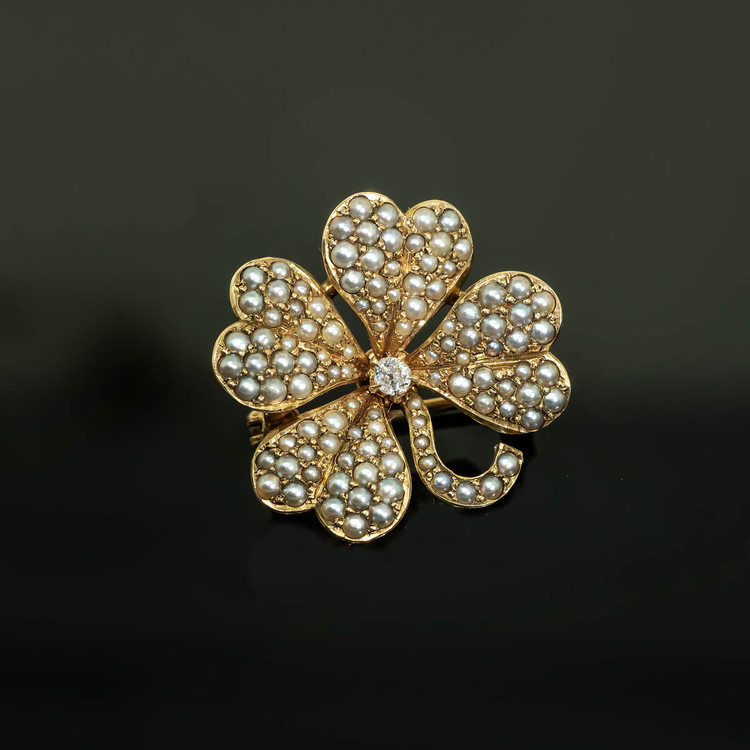 Antique Pearl and Diamond Clover Brooch