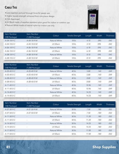 "50 Pc. 25"" 175 lb. Black UV Resitant Cable Tie  A-24-175-0-L"