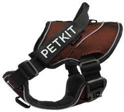 Petkit Air Quad-Connecting Adjustable Cushioned Chest Compression Dog Harness (Medium, Orange/Black)