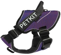 Petkit Air Quad-Connecting Adjustable Cushioned Chest Compression Dog Harness (Medium, Orange/Blue)