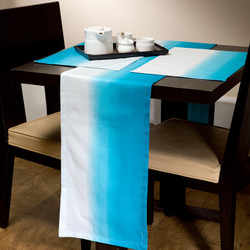 Cambay Linens Blue Gradient Runner and Placemat 7 Piece Set