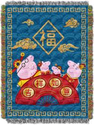 Peppa Pig Good Luck Metallic Woven Tapestry Throw Blanket