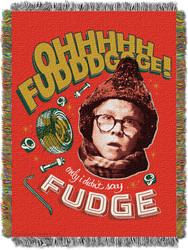 """A Christmas Story, """"OH Fudge"""" Woven Tapestry Throw Blanket"""