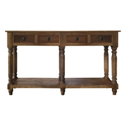 Traditional Wooden Console Table with 4 Drawers and Turned Legs, Brown