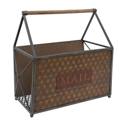 Wood and Metal Frame Basket with Handle and Typography, Brown and Gray