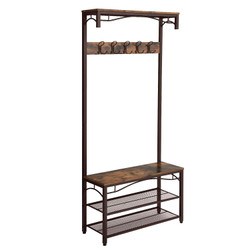 Wood and Metal Frame Hall Tree with 5 Dual Hooks, Rustic Brown and Black