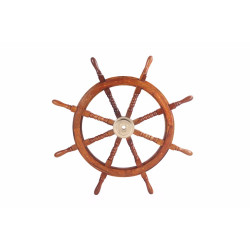 """36"""" Teak Wood Ship Wheel with Brass Inset and Eight Spokes, Brown and Gold"""