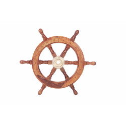 """18"""" Teak Wood Ship Wheel with Brass Inset and Six Spokes, Brown and Gold"""