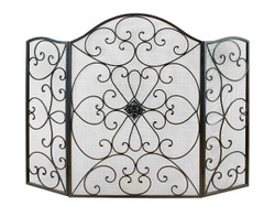 Benzara Scroll Patterned 3-Panel Metal Fire Screen with Double Bar For Fire Place , Black