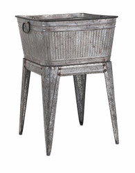 Multi-Functional Galvanized Metal Tub on Stand, Gray