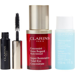 Clarins by Clarins All About Eyes Set: Mascara Supra Volume + Instant Eye Makeup Remover 30ml/1oz + Super Restorative Total Eye Concentrate 15ml/.5oz --3pcs
