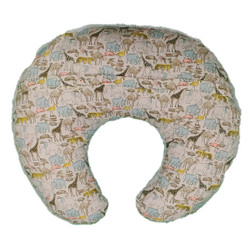 DunaWest C Shaped Polyester Upholstered Baby Nursing Pillow with Animal Print, Multicolor
