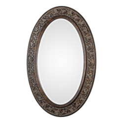 Dunawest Oval Shaped Polystyrene Mirror with Filigree Details, Brown and Silver