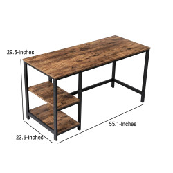 Wood and Metal Frame Computer Desk with 2 Shelves, Rustic Brown and Black