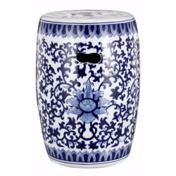 Round Floral Design Transitional Ceramic Stool, White And Blue