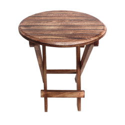 Round Plank Style Portable Mango Wooden Picnic Table with Criss Cross Base, Small, Brown
